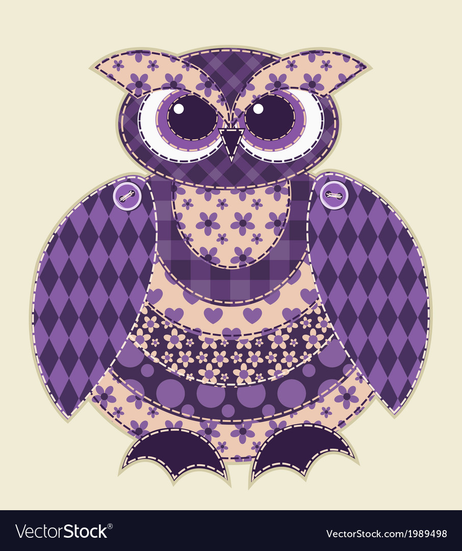 Violet patchwork owl vector | Price: 1 Credit (USD $1)