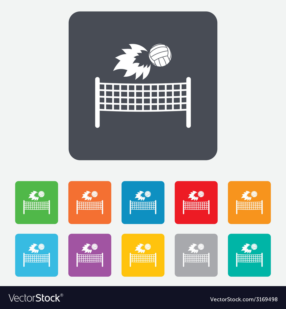 Volleyball net fireball icon beach sport symbol vector   Price: 1 Credit (USD $1)