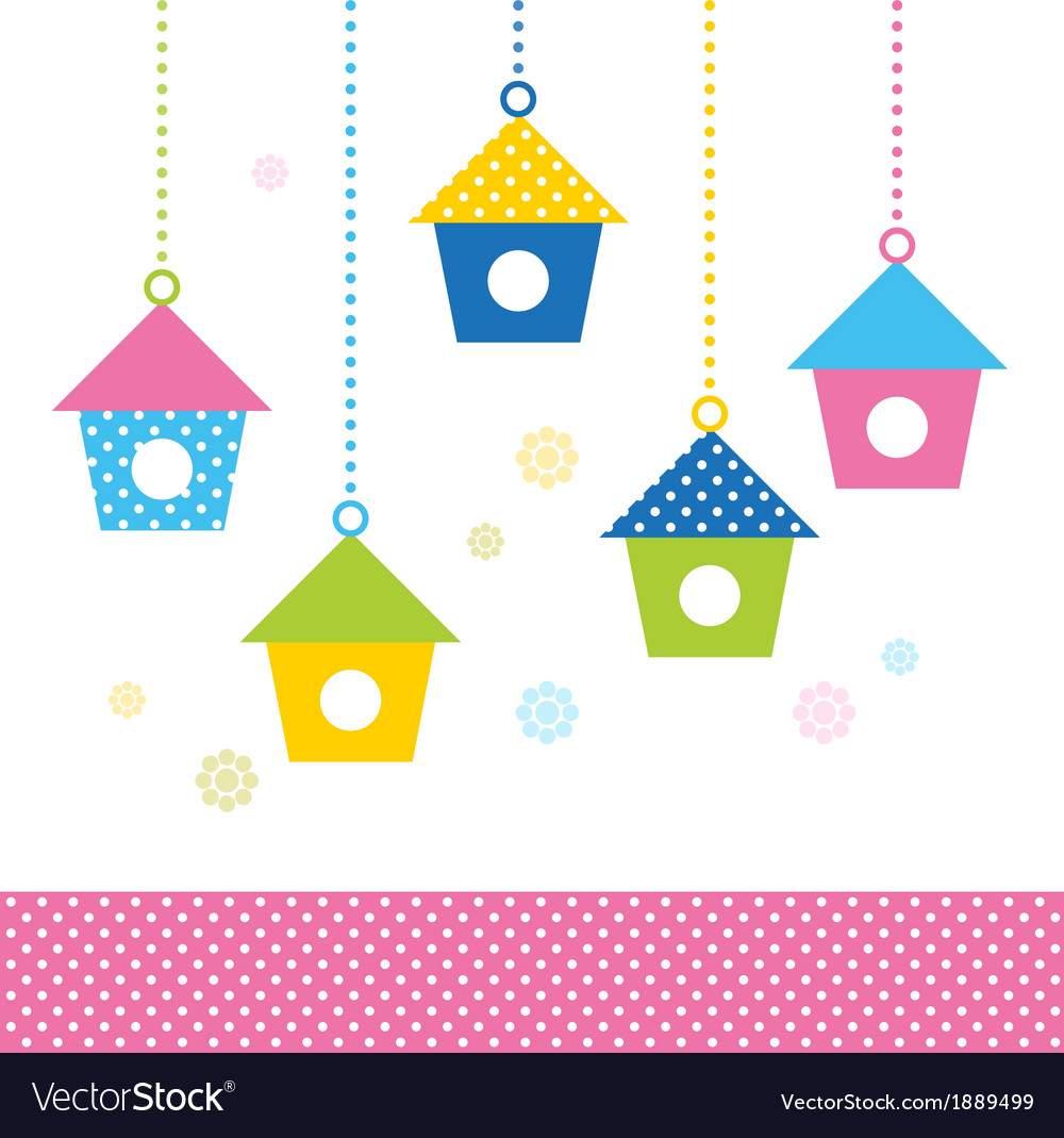 Cute spring colorful bird houses set - vector | Price: 1 Credit (USD $1)