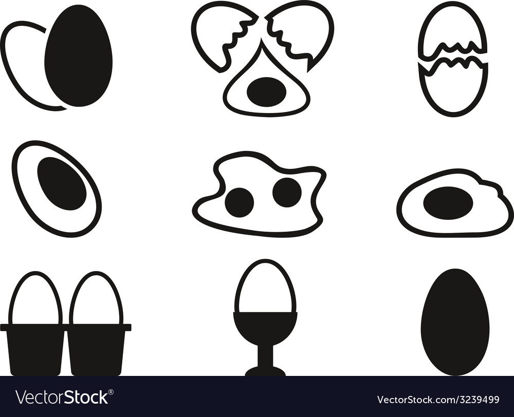 Egg icons set vector | Price: 1 Credit (USD $1)
