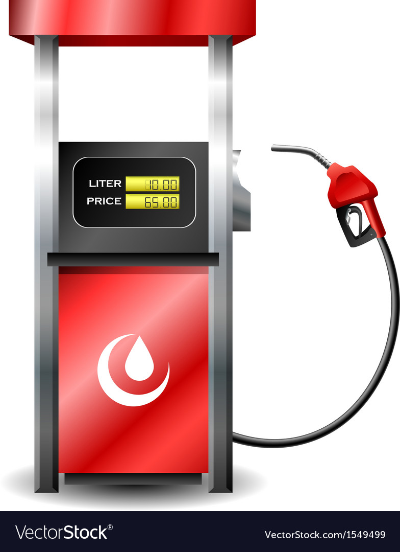 Gas station pump with fuel nozzle vector | Price: 1 Credit (USD $1)