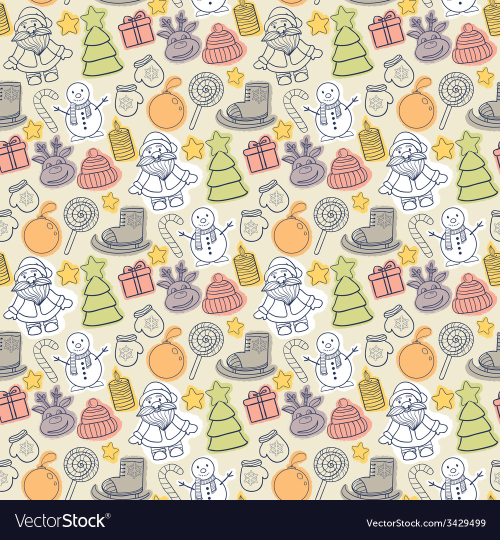 Happy new year and merry christmas pattern vector | Price: 1 Credit (USD $1)