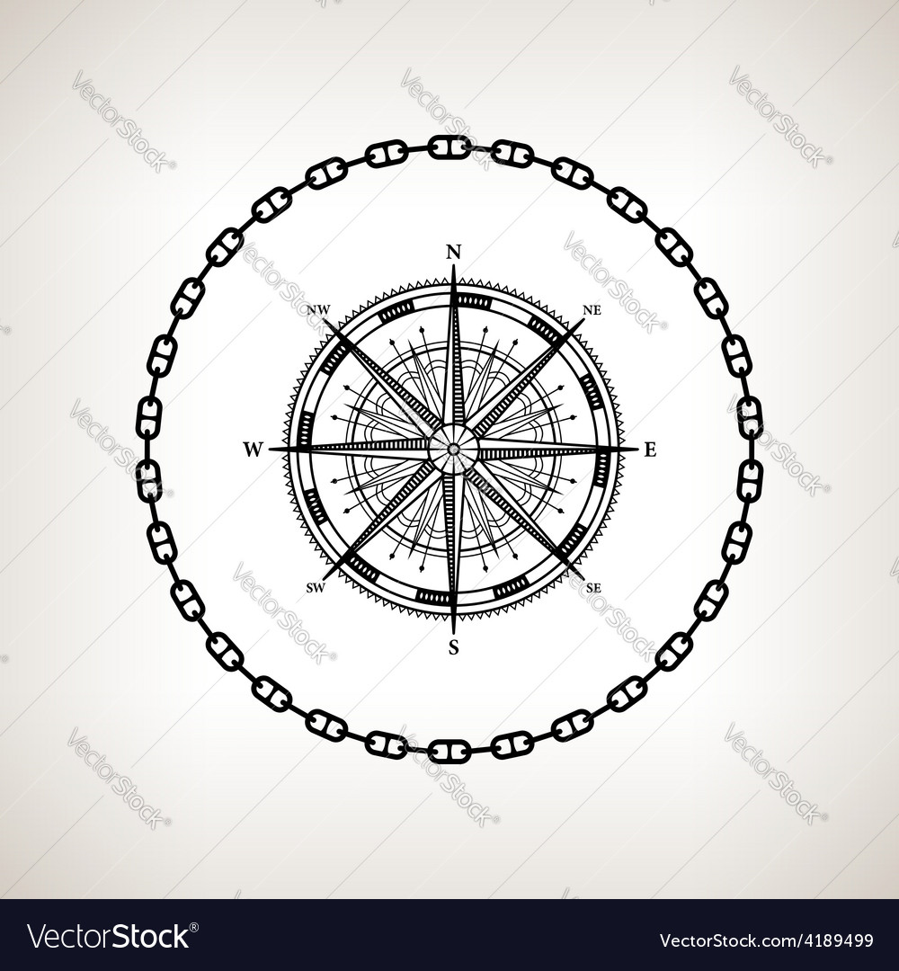 Silhouette compass rose on a light background vector | Price: 1 Credit (USD $1)
