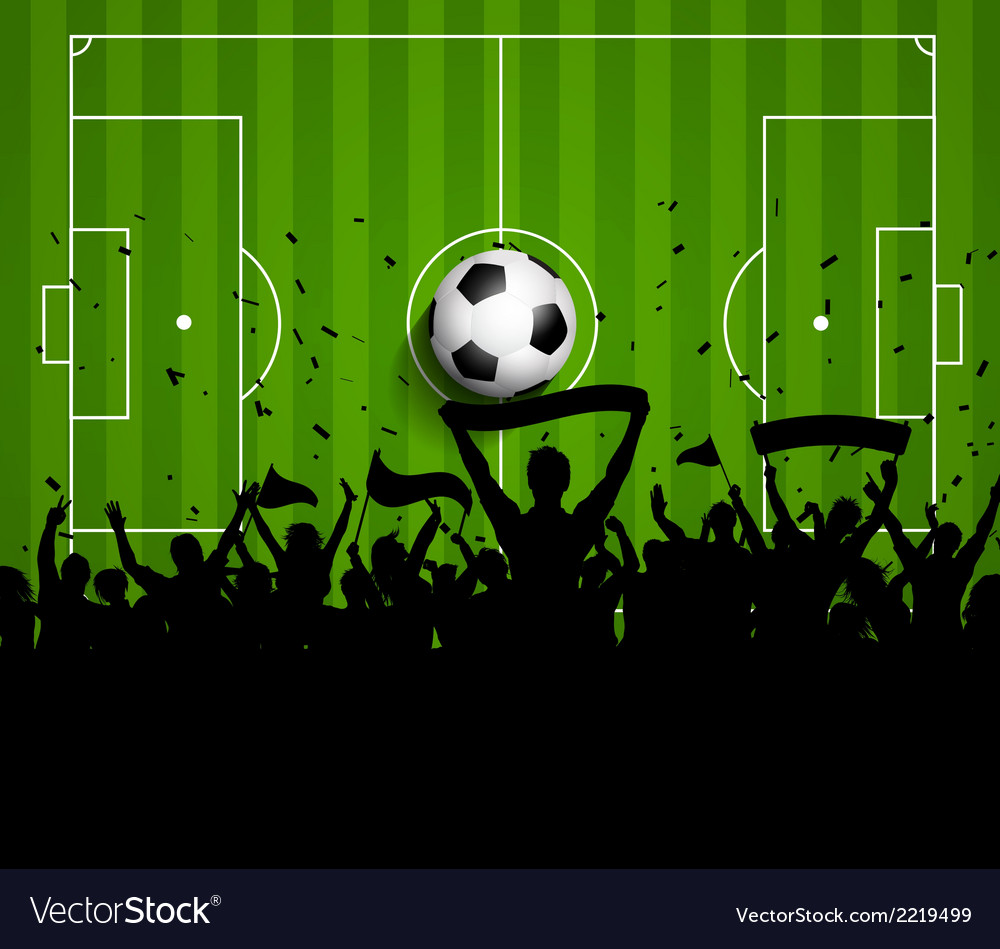 Soccer football crowd on a green pitch background vector | Price: 1 Credit (USD $1)