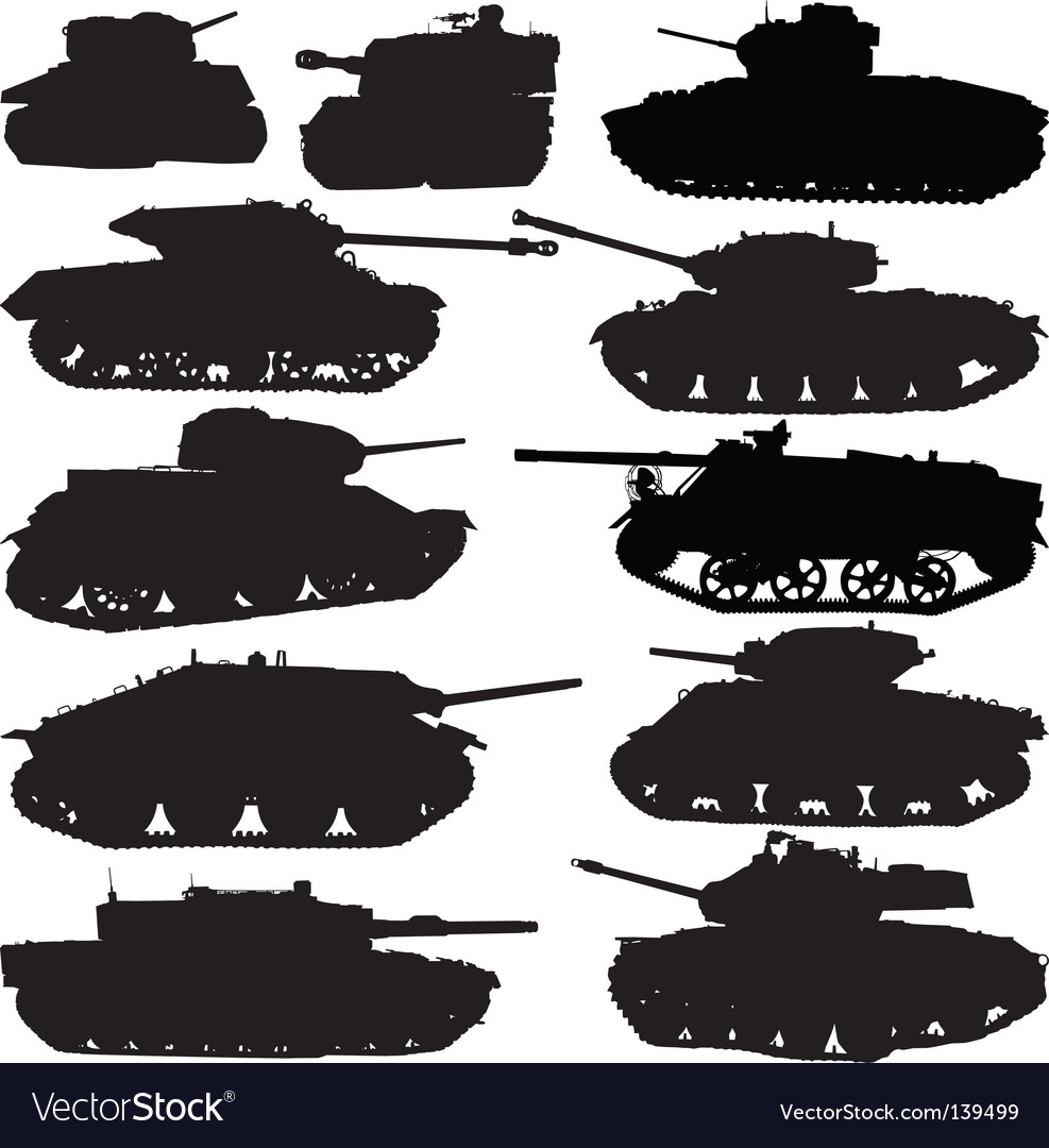 Tank silhouettes vector | Price: 1 Credit (USD $1)