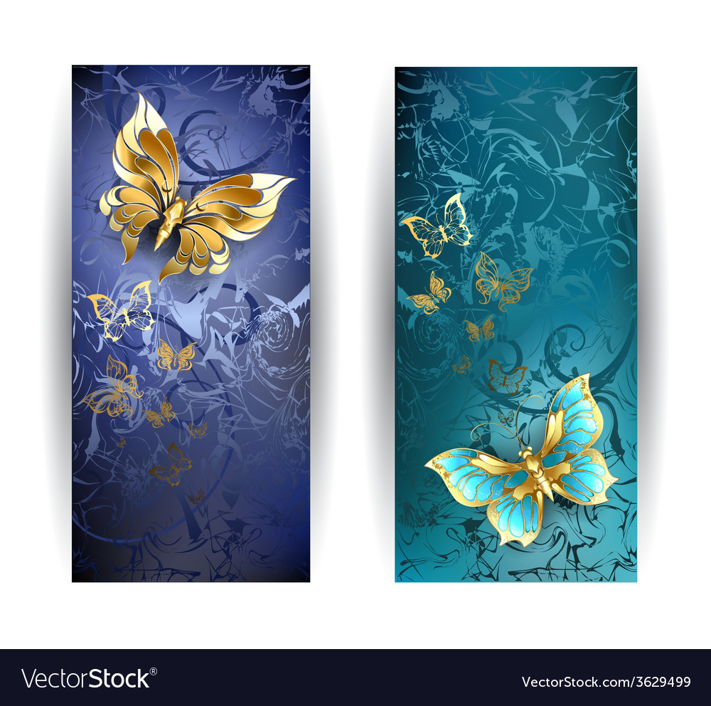 Two banners with gold butterflies vector | Price: 1 Credit (USD $1)