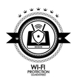 Black retro vintage label  tag  badge  wi-fi vector