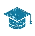 Grunge academic hat icon vector