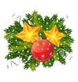 Christmas ball and stars isolated vector