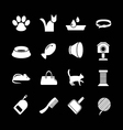 Set icons of cats and cat accessories vector