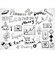 Tablet-drawn doodles business and finace theme vector