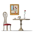 Vintage interior with table chare flowers and vector