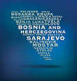 Bosnia and herczegovina map made with name of vector