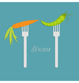 Carrot and green pea on fork diet concept menu vector