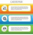 Car repair service horizontal banner set vector