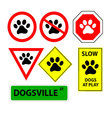 7 dog paw signs vector