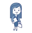 Character businesswoman with briefcase vector