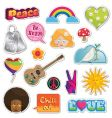 Peace and love stickers vector