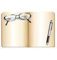 An empty book with an eyeglass and a ballpen vector