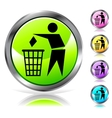 Glossy recycling sign button vector