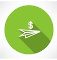 Paper plane with dollar icon vector