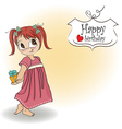 Pretty young girl she hide a gift vector