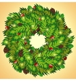 Christmas wreath with cones and holly berry vector
