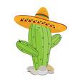 Cactus in sombrero vector
