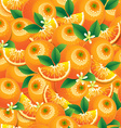 Orange with leaves and flowers seamless pattern vector