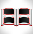Open red book on grayscale vector