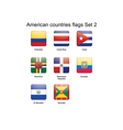 American countries flags set 2 vector