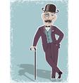 Vintage gentleman in black bowler hat vector