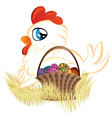 White hen with easter eggs basket vector