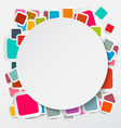 Paper circle on colorful square round rectangles vector