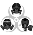 Gas masks and biohazard sign vector