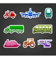 Set of sticky stickers transport color symbols vector