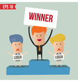 Cartoon business man on podium - - eps10 vector