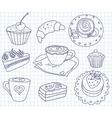 Doodle coffee set vector