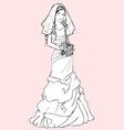 Bride with a wedding bouquet vector