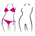 Woman in bikini and woman silhouette vector