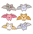 Set of kawaii bats with different facial vector
