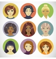 Set of circle female icons vector
