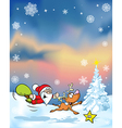 Christmas background with funny santa claus vector