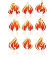 Fire flames set red icons vector
