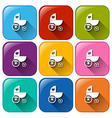 Stroller icons vector