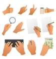 Hands in the office pointing gestures writing hand vector