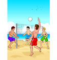 Playing beach volleyball vector