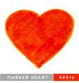 Red felt pen heart vector