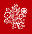 Abstract white cogs - gears on red background vector