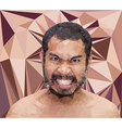 Angry man face in triangular stlye vector